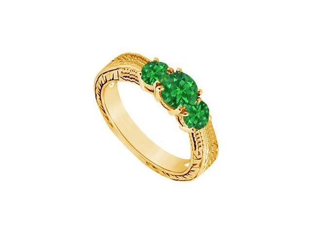 Emerald Three Stone Ring  14K Yellow Gold - 0.33 CT TGW