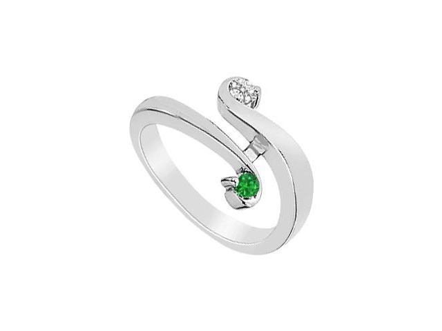 Emerald and Diamond Ring  14K White Gold - 0.20 CT TGW