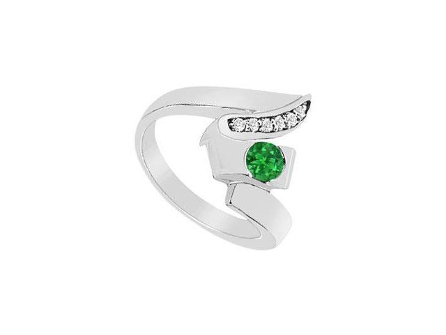 Emerald Zig-Zag Ring  14K White Gold - 0.33 CT TGW
