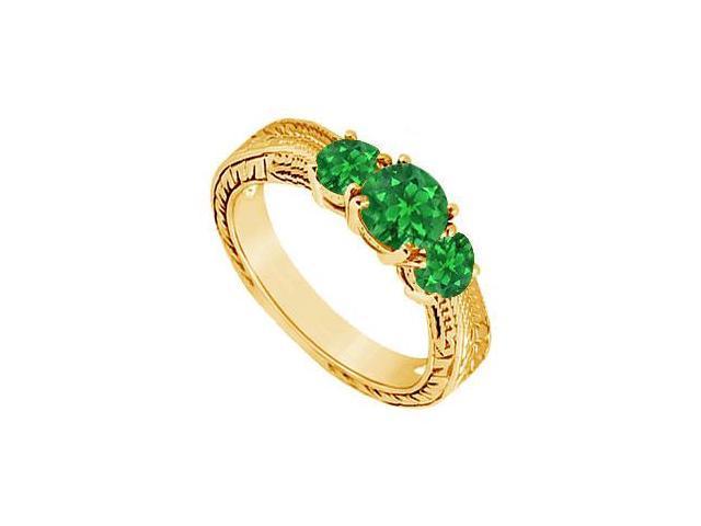 Emerald Three Stone Ring  14K White Gold - 0.50 CT TGW
