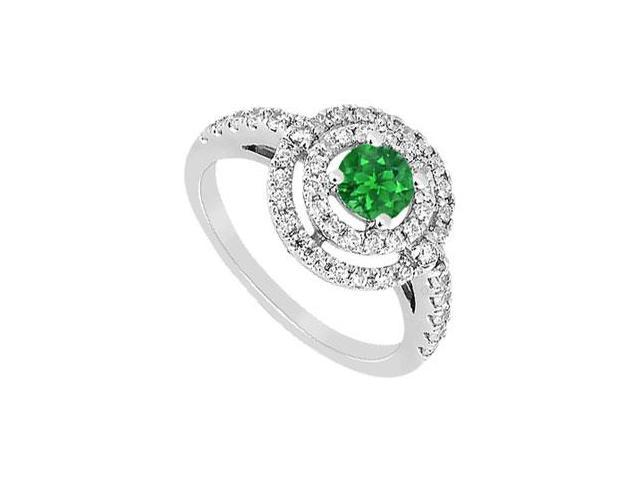 Frosted Emerald and Cubic Zirconia Ring 10K White Gold 1.75 CT TGW