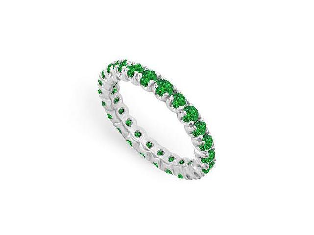Frosted Emerald Eternity Band 925 Sterling Silver 1.00 Carat Total Gem Weight