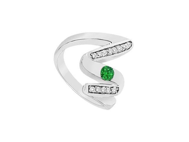 Emerald Zig-Zag Ring  14K White Gold - 0.50 CT TGW