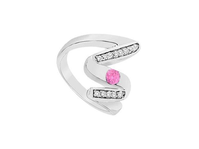 Pink Sapphire Zig-Zag Ring  14K White Gold  0.50 CT TGW