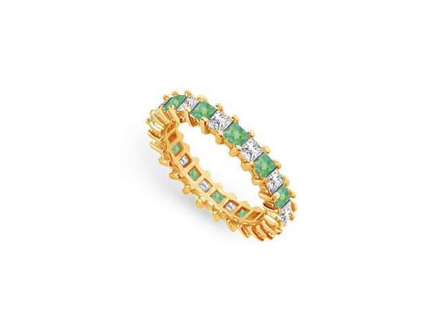 Diamond and Emerald Eternity Band  18K Yellow Gold  3.00 CT TGW