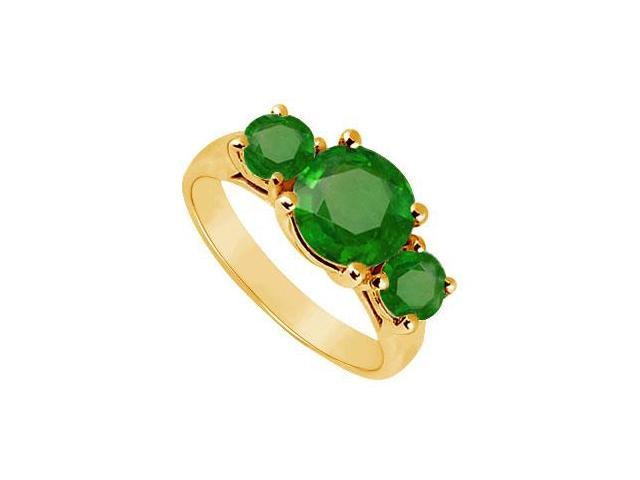 Three Stone Emerald Ring  14K Yellow Gold - 2.50 CT TGW