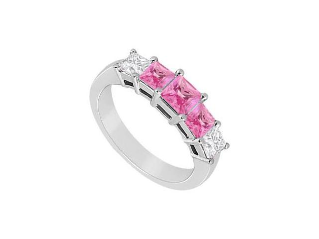 Pink Sapphire and Diamond Wedding Band  14K White Gold - 1..00 CT TGW