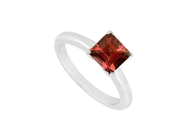 Garnet Ring  14K White Gold - 0.75 CT TGW