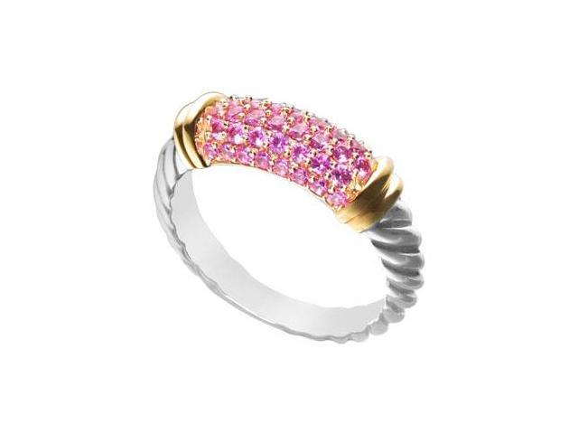 Pink Sapphire Twisted Ring 14K White Gold with Yellow Gold Vermeil 1.25 Carat Total Gem Weight