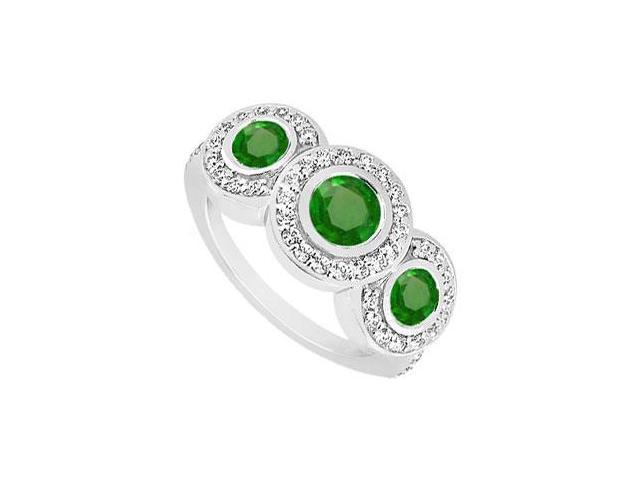 Frosted Emerald and Cubic Zirconia Engagement Ring 10K White Gold 0.66 CT TGW