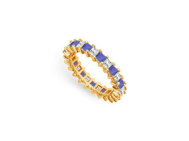 Diamond and Blue Sapphire Eternity Band  18K Yellow Gold  3.00 CT TGW
