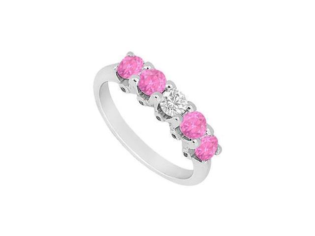 Pink Sapphire and Diamond Wedding Band  14K White Gold - 1.55 CT TGW
