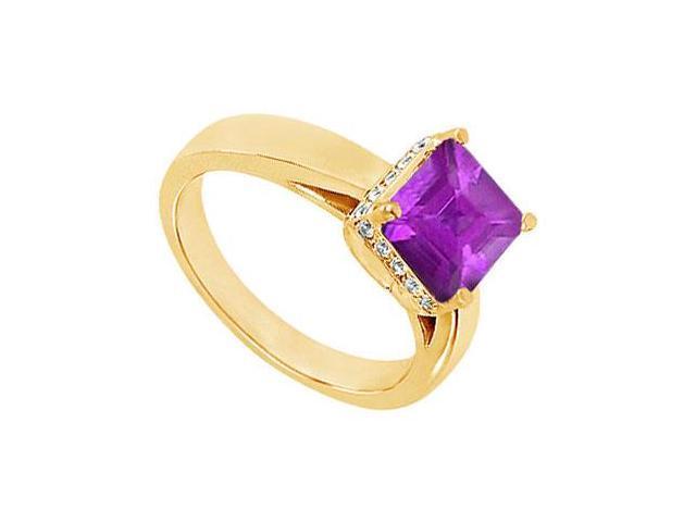 Amethyst and Diamond Ring  14K Yellow Gold - 1.00 CT TGW