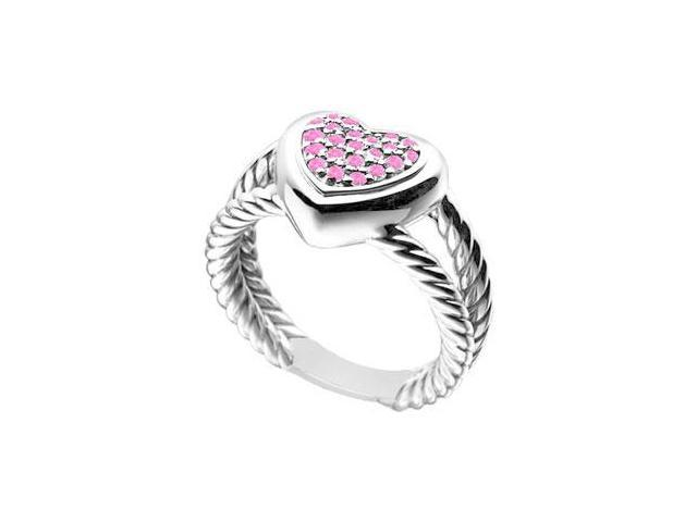 Pink Sapphire Heart Rope Ring  14K White Gold - 0.25 CT TGW