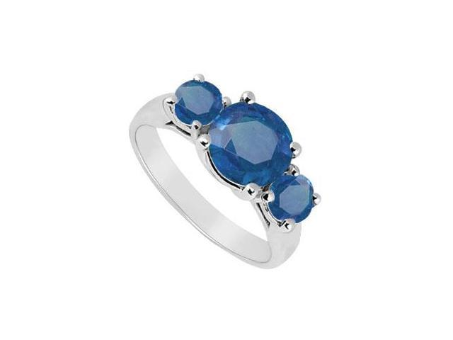 Three Stone Sapphire Ring  14K White Gold - 2.00 CT TGW