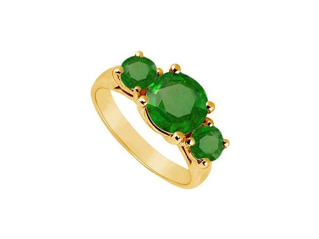 Three Stone Emerald Ring  14K Yellow Gold - 3.00 CT TGW
