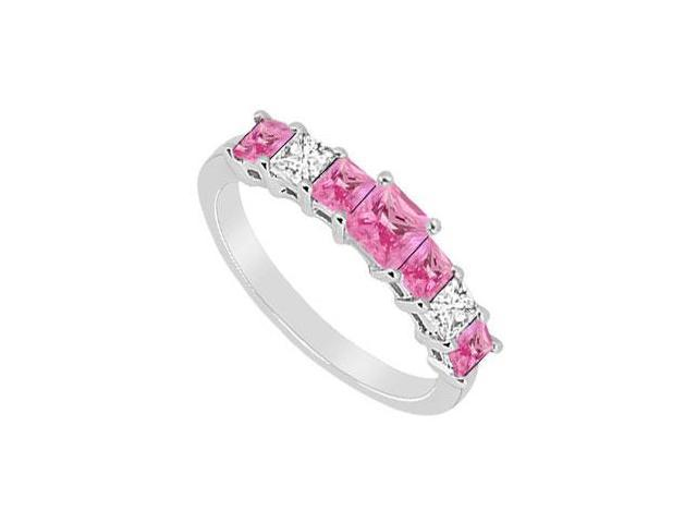 Pink Sapphire and Diamond Wedding Band  14K White Gold - 2.50 CT TGW