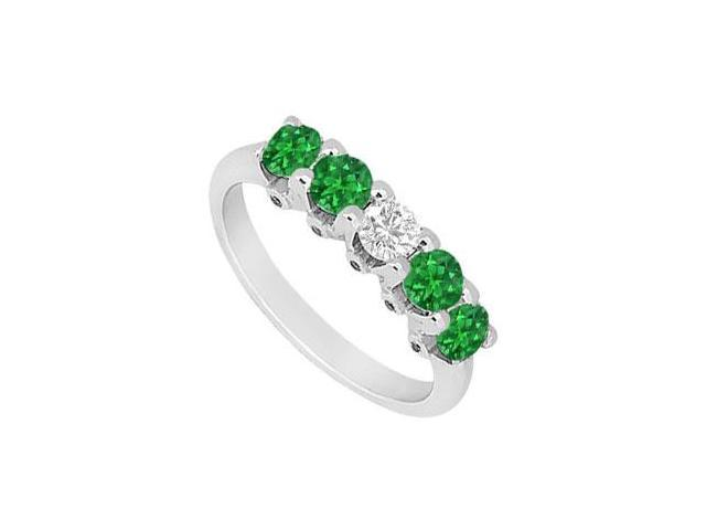 Emerald and Diamond Wedding Band  14K White Gold - 1.55 CT TGW