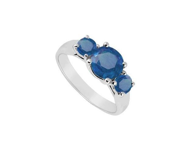 Three Stone Sapphire Ring  14K White Gold - 1.00 CT TGW