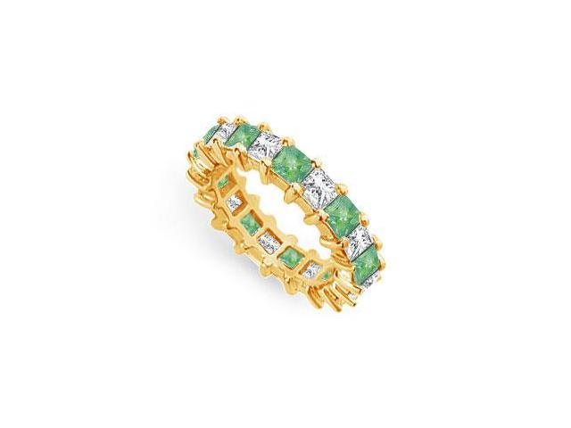 Diamond and Emerald Eternity Band  18K Yellow Gold  4.00 CT TGW