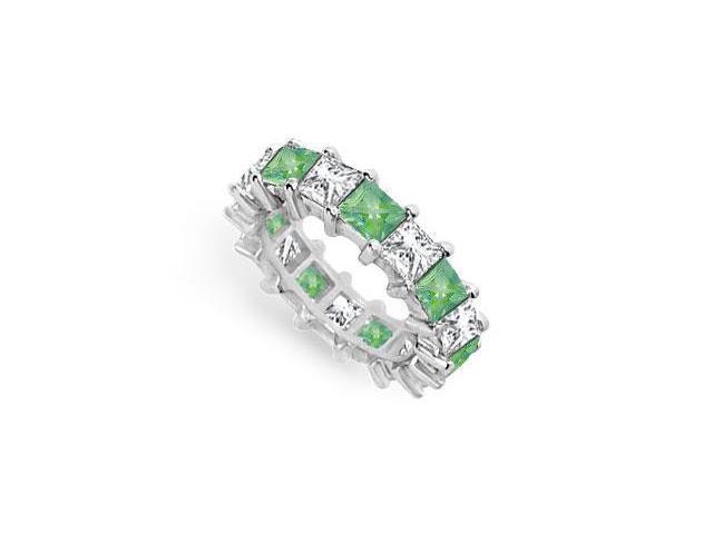 Diamond and Emerald Eternity Band  18K White Gold  5.00 CT TGW