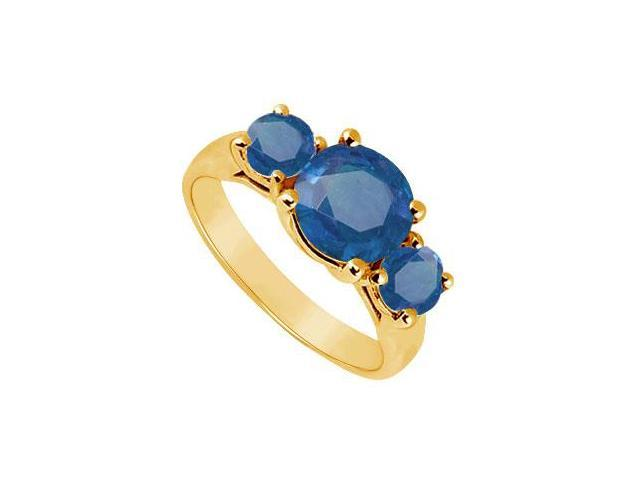 Three Stone Sapphire Ring  14K Yellow Gold - 2.00 CT TGW
