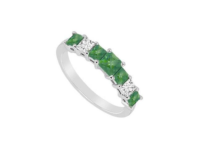 Emerald and Diamond Wedding Band  14K White Gold - 2.50 CT TGW