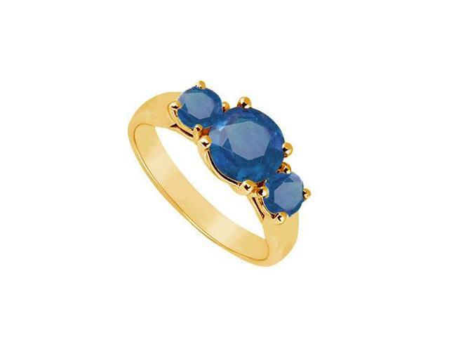 Three Stone Sapphire Ring  14K Yellow Gold - 1.00 CT TGW