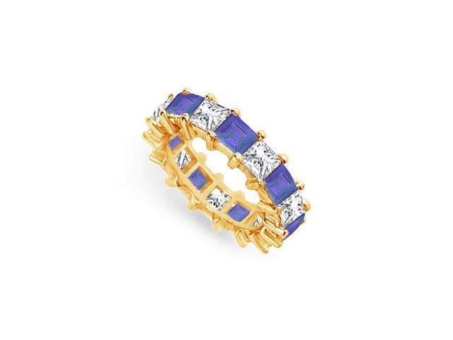 Diamond and Blue Sapphire Eternity Band  18K Yellow Gold  5.00 CT TGW