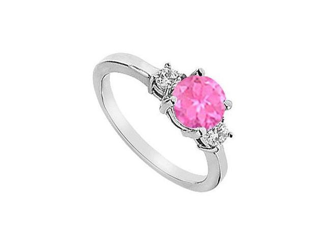 Three Stone Created Pink Sapphire and Cubic Zirconia Engagement Ring 10K White Gold 1.25 CT TGW