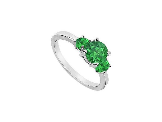 Three Stone Frosted Emerald Engagement Ring 10K White Gold 1.25 CT TGW