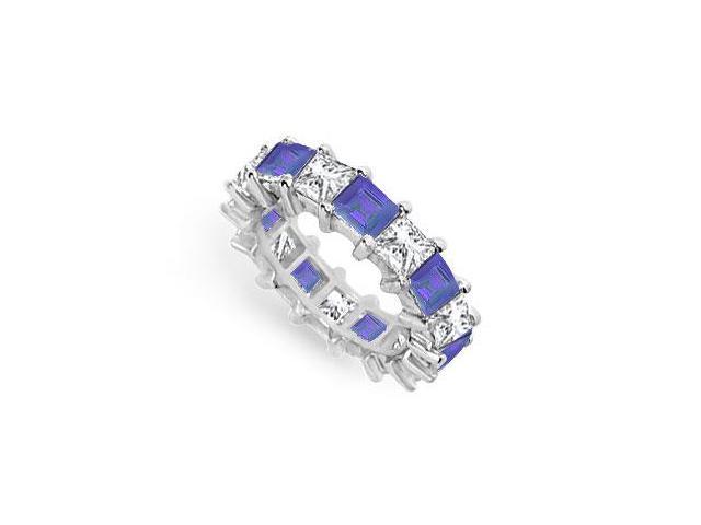 Diamond and Blue Sapphire Eternity Band  18K White Gold  5.00 CT TGW