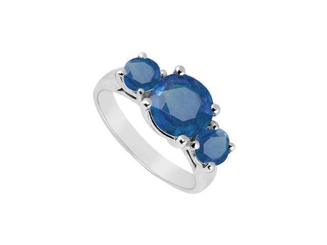 Three Stone Sapphire Ring  14K White Gold - 3.00 CT TGW