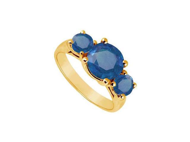 Three Stone Sapphire Ring  14K Yellow Gold - 3.00 CT TGW