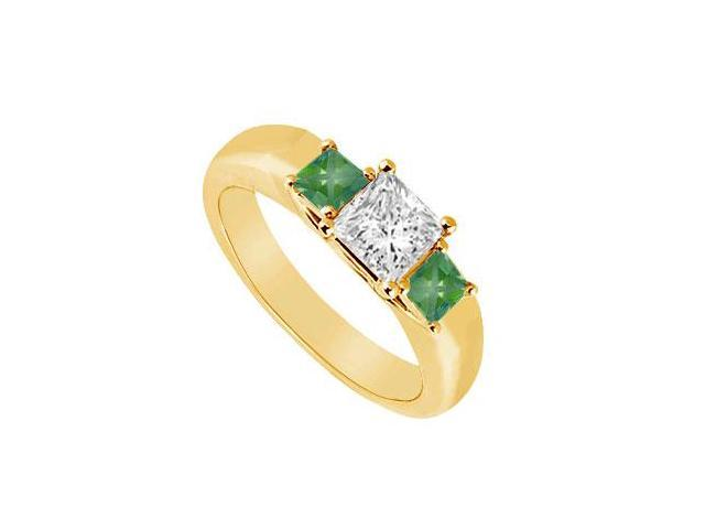 Three Stone Diamond and Emerald Ring  14K Yellow Gold - 0.33 CT TGW