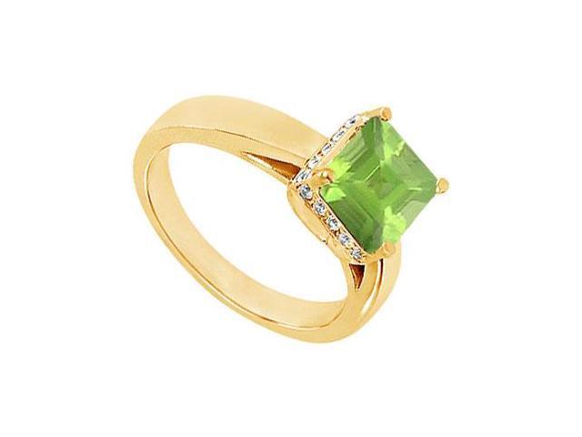 Peridot and Diamond Ring  14K Yellow Gold - 1.00 CT TGW