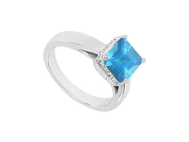 Blue Topaz and Diamond Ring  14K White Gold - 0.83 CT TGW