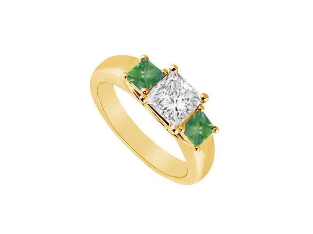 Three Stone Diamond and Emerald Ring  14K Yellow Gold - 0.50 CT TGW