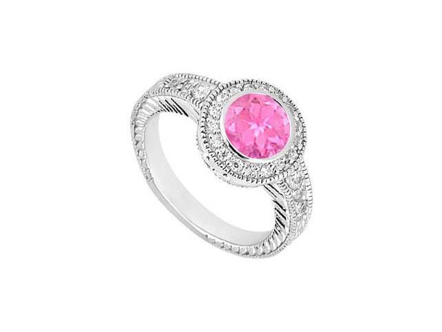 10K White Gold Created Pink Sapphire and Cubic Zirconia Engagement Ring 0.75 CT TGW