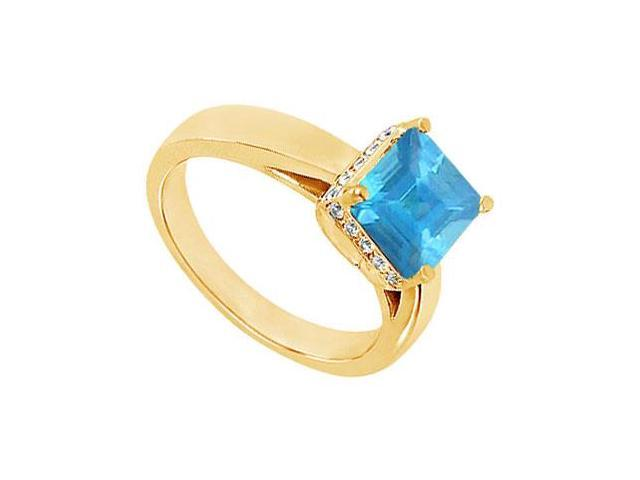 Blue Topaz and Diamond Ring  14K Yellow Gold - 0.83 CT TGW