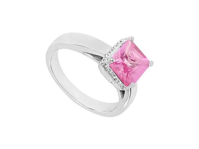 Pink Topaz and Diamond Ring  14K White Gold - 1.00 CT TGW