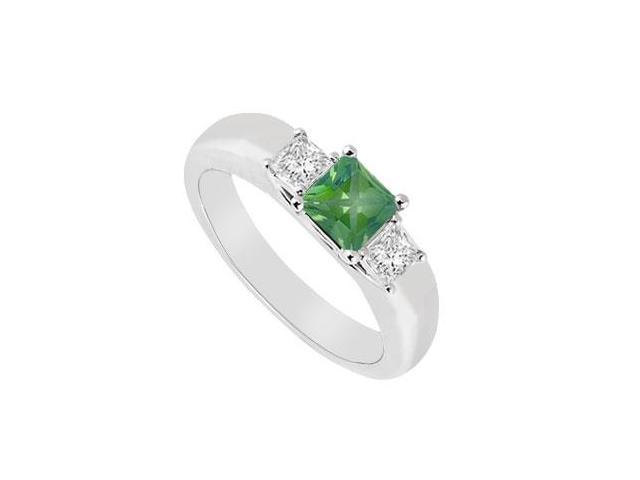 Three Stone Emerald and Diamond Ring  14K White Gold - 0.25 CT TGW