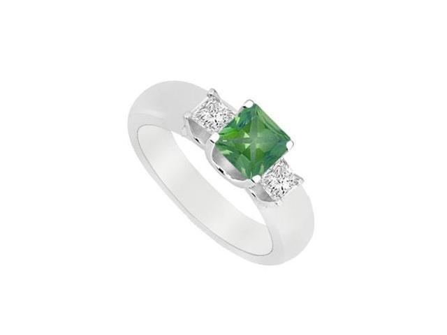 Three Stone Emerald and Diamond Ring  14K White Gold - 0.75 CT TGW