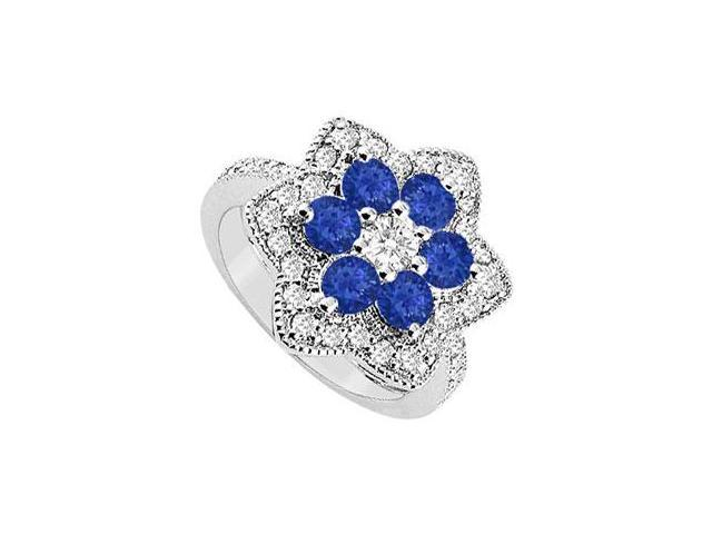 Diamond and Sapphire Ring  14K White Gold - 1.50 CT TGW