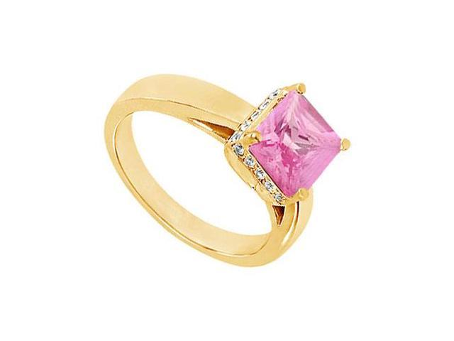 Pink Topaz and Diamond Ring  14K Yellow Gold - 1.00 CT TGW