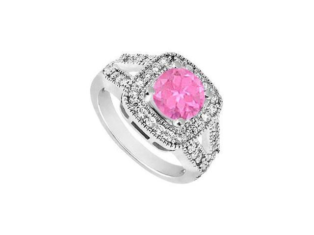 10K White Gold Created Pink Sapphire and Cubic Zirconia Engagement Ring 1.50 CT TGW
