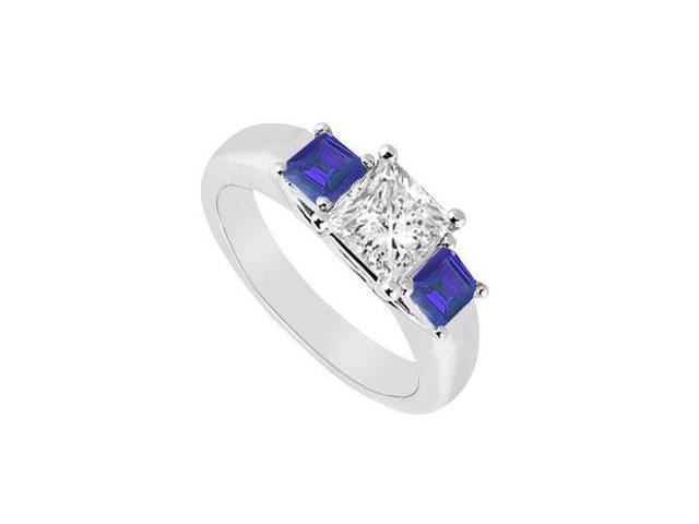 Three Stone Diamond and Sapphire Ring  14K White Gold - 0.50 CT TGW
