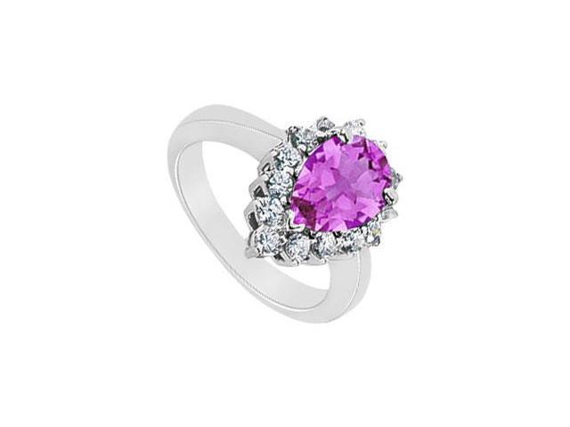 Amethyst and Diamond Ring  14K White Gold - 1.50 CT TGW