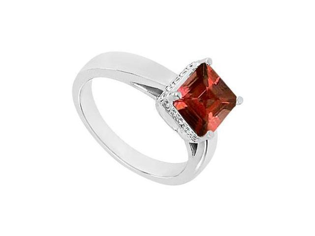 Garnet and Diamond Ring  14K White Gold - 0.83 CT TGW