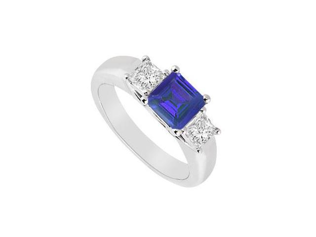 Three Stone Sapphire and Diamond Ring  14K White Gold - 0.50 CT TGW
